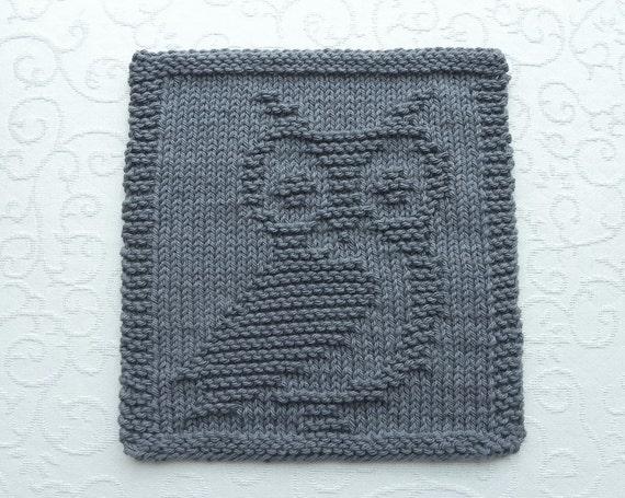 Knit Pattern For Owl Dishcloth : OWL Knit Wash Cloth or Dishcloth Dark Gray 100% Cotton Dish