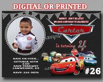 Disney Cars Invitation, Birthday Party Invitation printable digital file