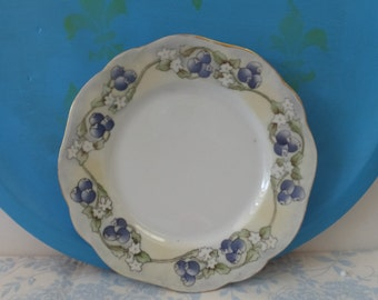 Hand Painted Antique Decorative Plate - Blueberries Silesia - Signed JMH 1916