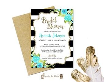 Bridal Shower Invitation Shabby Chic Teal Blue Flower Black Stripes Gold Glitter Sky Turquoise Wedding Printable Digital File Printed Prints