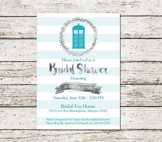 Nerd Wedding Invitations: Items Similar To Doctor Who Wedding Bridal Shower