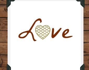 Scalloped Heart Love Print