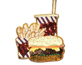 Burger Fries and Soda Sequin Appliqué Patch