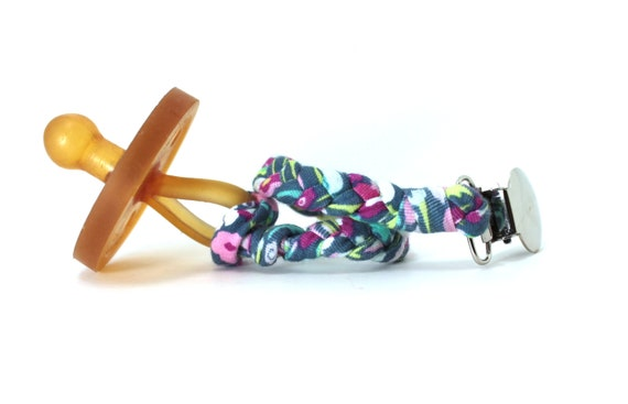 Braided Pacifier Clip / MULTI COLORED FLORAL Braided Pacifier Clip / soothie / binky clip / pacifier holder