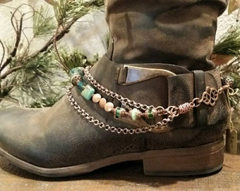 Handmade solid copper link boot bracelet with genuine turquoise accent beads