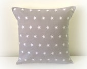 Retro Funky Light Grey Star Cushion Cover 16""