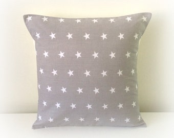 "Retro Funky Light Grey Star Cushion Cover Pillow Nursery 12"" & 16"""
