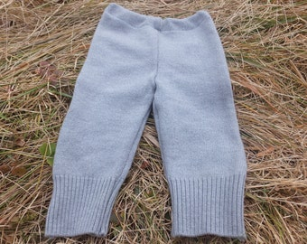 Upcyled Merino Baby Longies, Wool Diaper Cover, Upcycled Longies, Wool Longies, Wool Baby Pants, 6-18 months - ON SALE