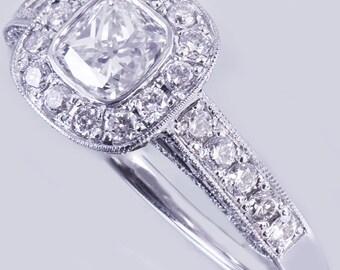 14k White Gold Cushion Cut Diamond Engagement Ring Bezel 1.70ctw F-SI1 GIA