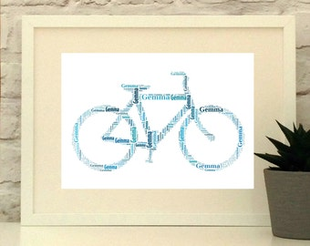 Personalised Bicycle Print - Gift for Cyclist - Bike Picture - Father's Day
