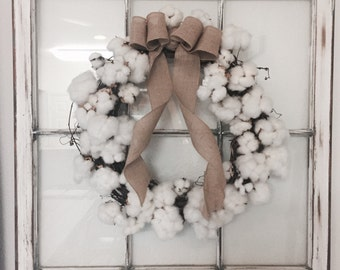 20 inch Cotton Wreath