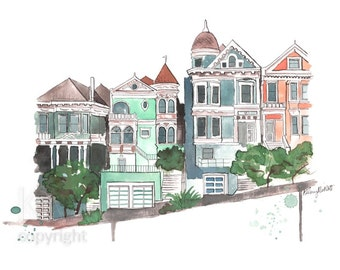 Houses on the Bay - San Francisco Travel Illustration Watercolor Painting Print - Home decor and wall art