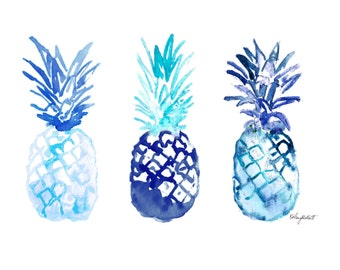 Watercolor Painting Print 'Blue Pineapples' -- Home/office decor and wall art, Summer prints