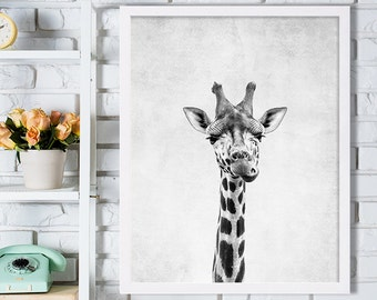 Nursery Room Art Giraffe Print Grey Nursery Decor Minimalist Art Print Black and White Wall Decor African Safari Animal Photography Print