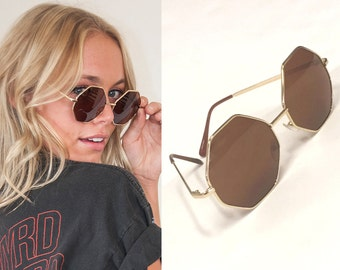 SALE Boho Sunglasses 60s style with gold tone hexagonal octogon frames Amber Lenses round lennon hippy beatnik hippie glasses boho 1970s 70s