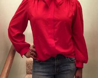 1970's Vintage Red Secretary Blouse-Bow Tie