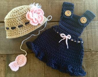 Crocheted fisherman set, girls fisherman set, photo prop, baby gift, baby accessory, fisherman set, baby set