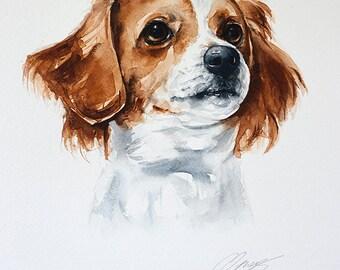 Pet portrait, custom, original watercolor painting, dog or cat painting, handmade, unique gift/present.