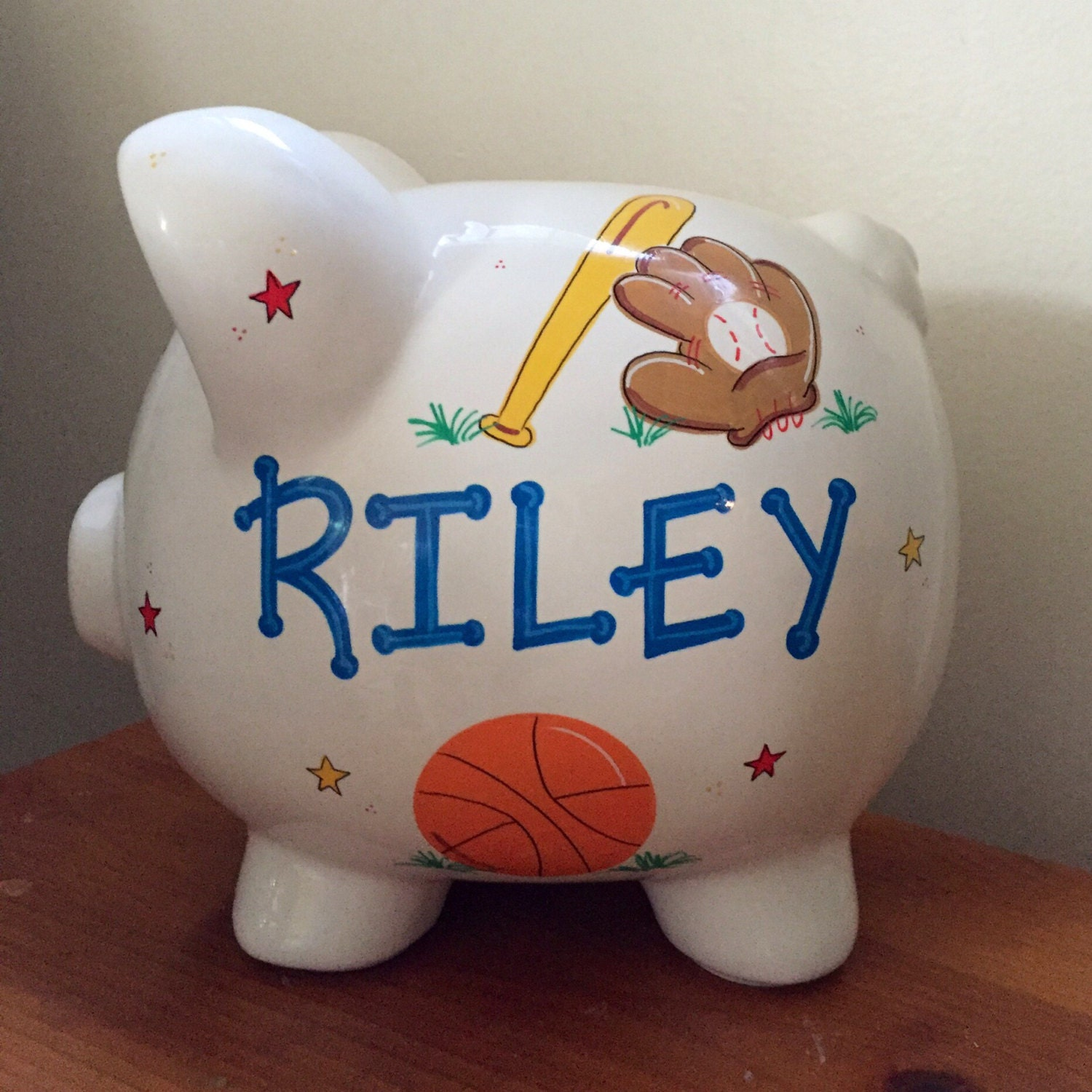 Personalized boys sports piggy bank by personalizedbydina on etsy - Coin banks for boys ...