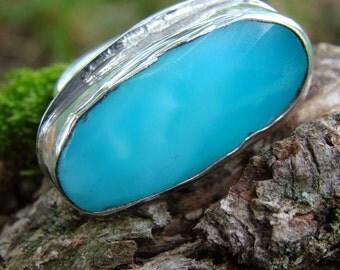 peruanischer opal sterling silber ring blauer opal gem stone. Black Bedroom Furniture Sets. Home Design Ideas
