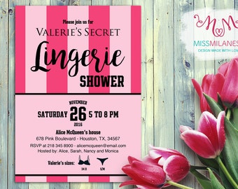 Victoria's Secret invitation, Victoria's Secret inspired, Bridal Shower, Bachelorette Party invitation, Pink invitation, Lingerie Shower