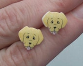Golden Labrador/ Retriever type cute stud/ post earrings. Shrink plastic. Can be customized.
