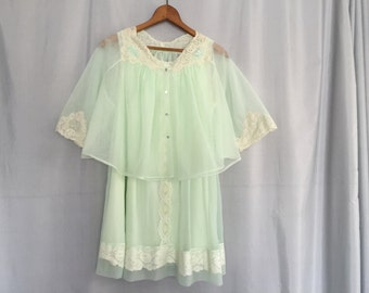 Green Slip and Jacket Set Vintage Lingerie Mint Green Sheer Cream Lace Women's Small or Medium