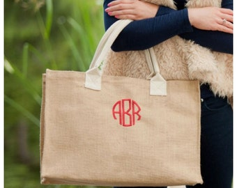 Monogrammed Burlap Bag