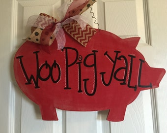 Classic Pig Door Hanger, Pig Door Hanger, Piggy Door Hanger, Arkansas Door Hanger, WOO PIG Door hanger, WPS Door Hanger, Custom Door Hanger
