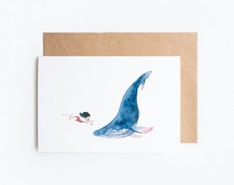 Whale and Girl Watercolour: Blank Greeting Card