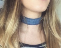 Denim Choker Necklace with Extendable Chain - Reclaimed Denim - Frayed Denim - Raw Hem - 90s - Silver Plated Findings