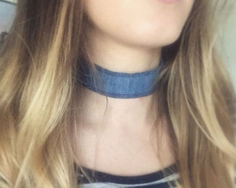 Wide Denim Choker Necklace with Extendable Chain - Reclaimed Denim - Frayed Denim - Raw Hem - 90s - Silver Plated Findings