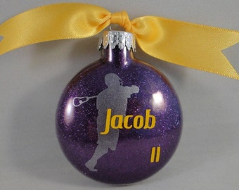 Personalized glass Lacrosse Christmas ornament - Handmade with custom team colors and name