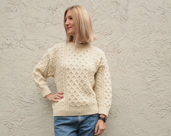 Cream Knit cable Aran Knit Sweater 100% Pure Wool