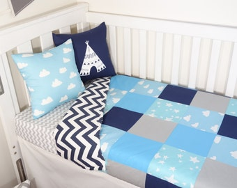 Patchwork quilt nursery set items - Shades of blue stars and clouds