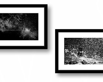 Set of two black and white photographs, Lake Michigan Waves, Nature, Office decor