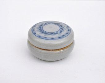 Studio Pottery keepsake/round lidded box Grey and Blue