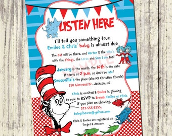 Printable Baby Shower Invitation - Dr. Seuss Baby Shower - 5x7