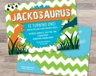 Blue, Green and Orange Chevron Dinosaur Birthday Party Invitation | Customizable | DIGITAL FILE