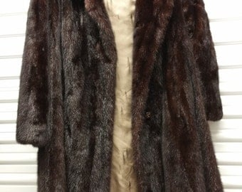 Womans Full Length Mink Coat Jacket Beautiful Made in New York Med Size Med 7 - 8