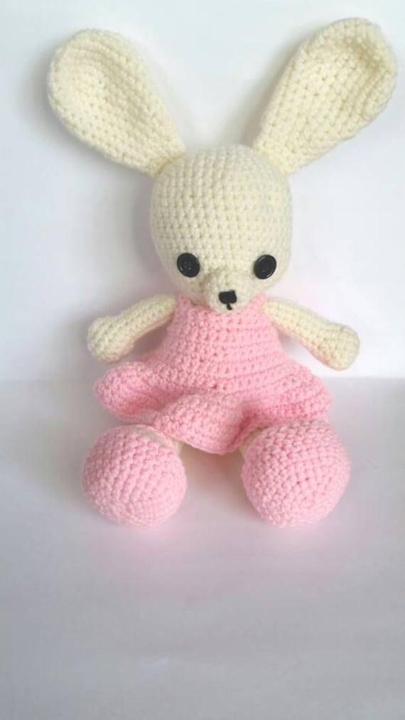 Amigurumi Bunny In Dress : Bunny Amigurumi Doll with Pink Dress Customizable Hand