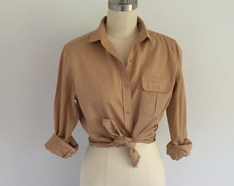 Vintage Khaki Lightweight Button Down Blouse Peter Pan Collar Size Small Petite 1980s Military Safari Style