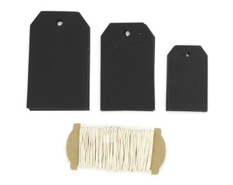 Set of 30 3 sizes Chalkboard paper Tags with 6 yard Ivory twine.Great for gifts, favors, rustic primitive decorations.(CBT7876C)