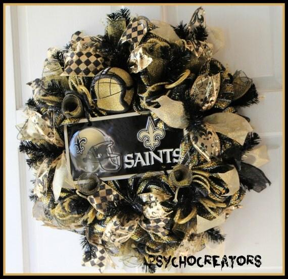 New Orleans Saints Home Decor: Items Similar To New Orleans Saints Wreath, Louisiana