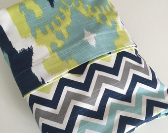 Duvet Cover Twin XL Bedding Reversible  Duvet and Sham in Chevron and Ikat