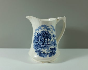 Vintage Alfred Meakin Staffordshire England EDINBURGH Blue Milk/Water Pitcher - Retro shabby chic water pitcher