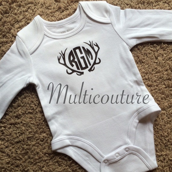 Baby Onesie: Antlers with Inset Initials