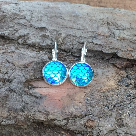 Mermaid Earrings Leverback Dangle Drop Style Dragon Scales Fish Scales Mermaid Scales dreaming of the sea beach ocean fins dragon fish lever