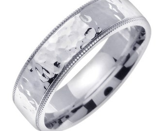 White Gold Hammered Wedding Ring