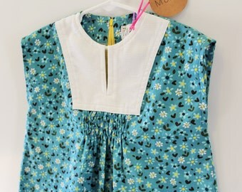 Smocked Dress -  Blue Floral White Yoke - Girls Size 4